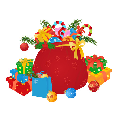 santas sack: Santas sack with gifts and boubles. Vector illustration. Illustration