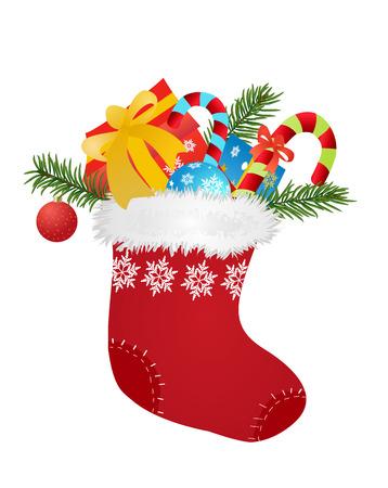 botas de navidad: calcetín rojo de Navidad con regalos y caramelos - ilustración vectorial
