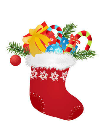 Christmas red sock with gifts and candies - vector illustration