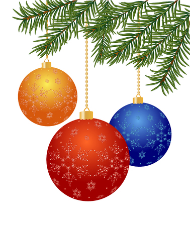 pine boughs: Christmas tree branch with balls on white background - vector illustration Illustration