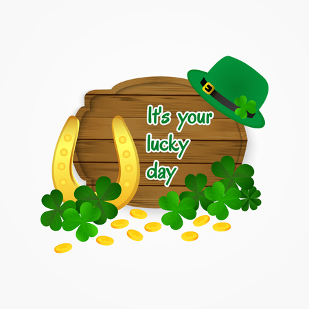 clover background: Licky day -Saint Patricks Day horseshoe, coins and clover background.