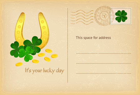 clover background: Lucky day - Saint Patricks Day celebration card with horseshoe, coins and clover background. Vector illustration. Illustration