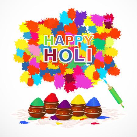pichkari: Indian festival happy holi greeting card with color splashes,  pichkari,pots. Vector illustration.
