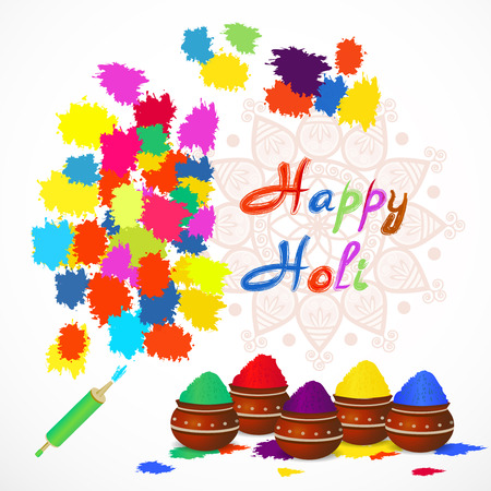 happy holi greeting card with color splashes,  pichkari,  mandala, color pots . Vector illustration.