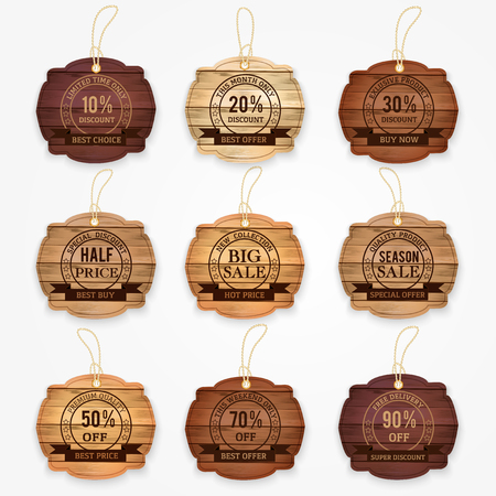 sticker: sale and discouncts banners, stickers, labels made from wood varios colors.  Vector illustration.