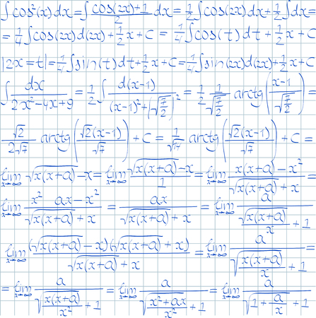 integral: Mathematical vector seamless pattern with trigonometrical formulas and integrals. Vector illustration