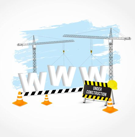 vector sign under construction: Under construction page with cranes, cones and white www sign.  Vector illustration.
