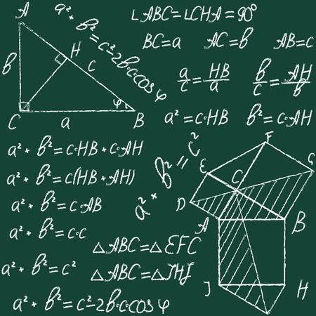 teorema: Dibujado a mano vector sin patrón matemático con fórmulas y teorema figures.Pythagorean. Tiza en una pizarra. Vectores