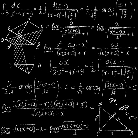 teorema: Dibujado a mano vector sin patrón matemático con fórmulas trigonométricas e integrales. Tiza en una pizarra.