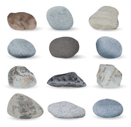 pebble: Realistic grey sea stones collection isolated on white background. Vector illustration.