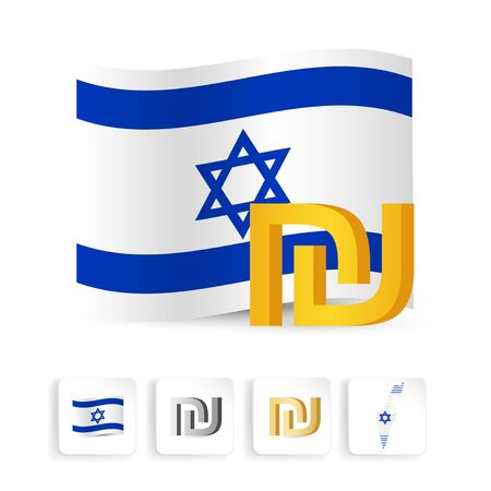 Israeli shekel sign symbol with Israel flag.