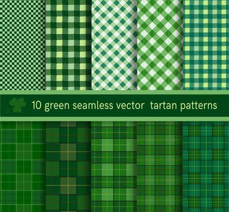 tartan plaid: Green tartan plaid pattern seamless collection. Illustration