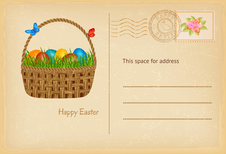 vintage postcard: Easter postcard in vintage style with easter basket eith easters eggs and grass. Happy easter celebration greetings card. Illustration