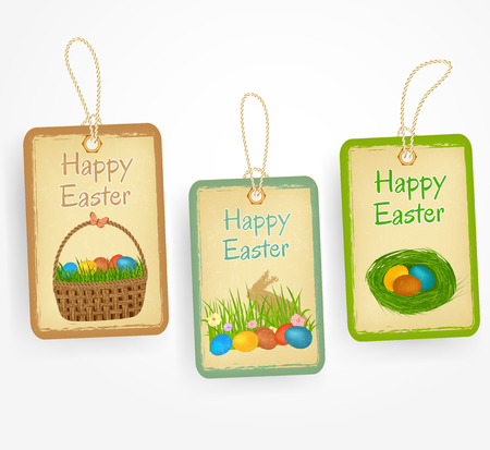 hamper: Eastern labels in vintage style with eastern eggs, eastern basket, bunny, grass.  vintage stickers.