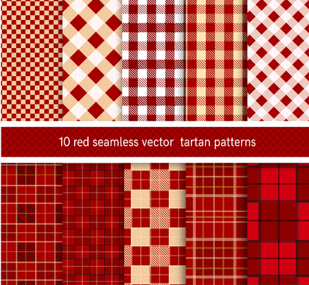 plaid patterns: Textile red tartan  seamless plaid patterns collection .