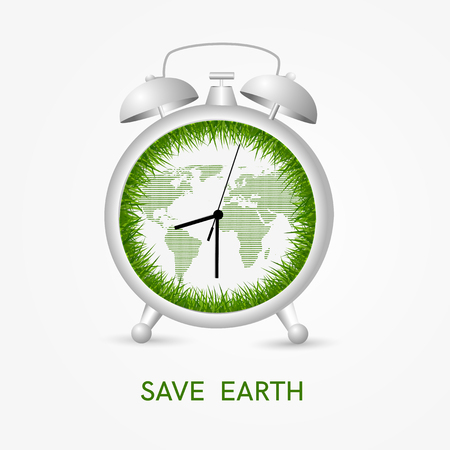 green concept: Save earth concept - clock with green grass and map showing earth hour time.