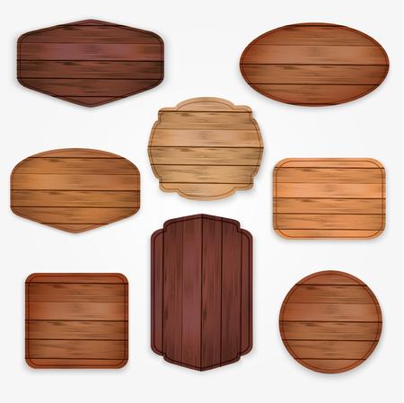 wood: drewniane kolekcji naklejki etykiety. Zestaw różnych kształtach deski drewniane znak dla ans sprzedaży naklejek, plakatów i zniżkami billboard Ilustracja