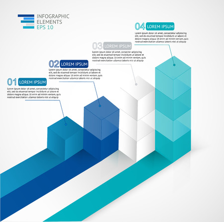 illustration infographic for statistics,  analytics, marketing  reports, presentation and web design with transparent growing bar graph in blue colors.