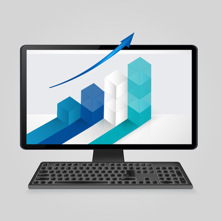 analytic: Keyboard and computer monitor with growing bar graph and arrow on screen. analysis business, finance, statistics,analytic concept.