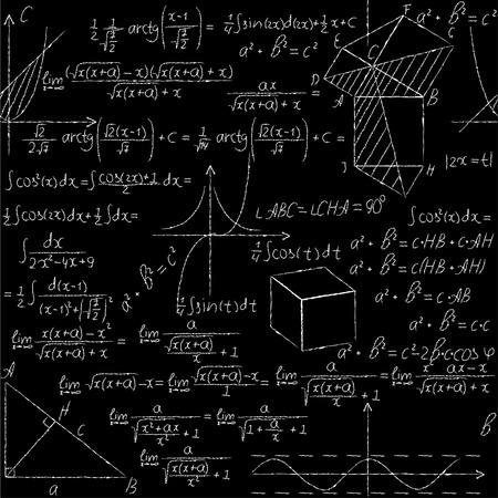sinus: Mathematical seamless pattern with geometry formulas, math graph. White chalk on black board.