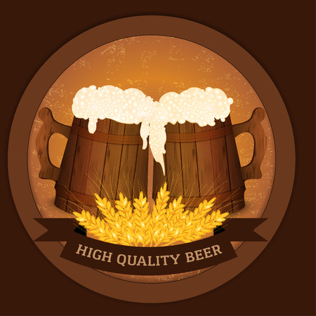 tankard: Two wooden beer mugs and wheat in vintage style - high quality beer concept.