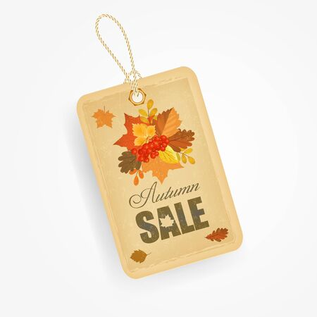 sale sign: Autumn sale sticker with autumn leaves in vintage style.