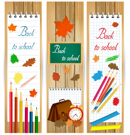 fall leaf: Vertical back to school banners with school tools and autumn leaves on wood surface. Illustration