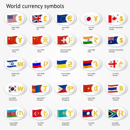 Wereld valuta symbolen icon set. Geld teken pictogrammen met nationale vlaggen. Vector illustratie.