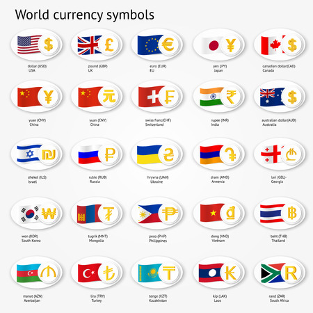 World Currency Symbols Vector Icon Set With Country Flags Royalty