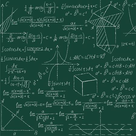Wiskundige naadloze patroon met meetkunde formules, wiskunde grafiek, driehoek. Vector illustratie.