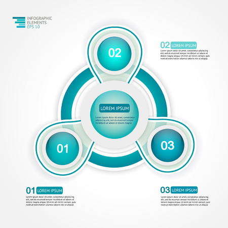 three phase: Circle 3 steps infographic design template for statistics, analytics, marketing reports, presentation and web design. Vector illustration