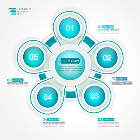 phase: 5 step options cycle process diagram. Infographic template for reports, plans,presentation,web. Vector Illustration.