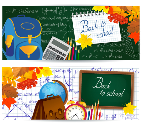 Horizontal banners with school supplies and mathematical formulas. Illustration