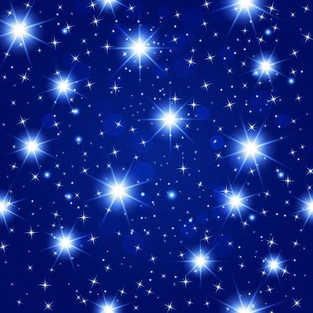 gaze: blue night sky seamless pattern with glowing stars. Vector illustration.