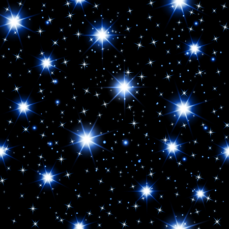 night sky seamless pattern with glowing stars. Vector illustration.
