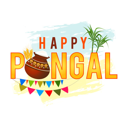 Happy Pongal greeting background with pongal rice in a traditional mud pot, wheat grain and bamboo. . Vector illustration. Illustration