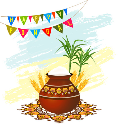 harvesting rice: Happy Pongal South Indian harvesting festival greeting card with pongal rice in a traditional mud pot, wheat grain and bamboo. Vector illustration.