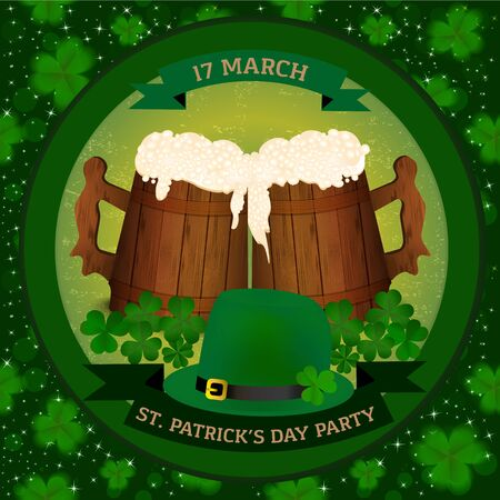 mag: Saint Patricks Day beer party invitation with two wooden beer mag, clover and green hat. Vector illustration.