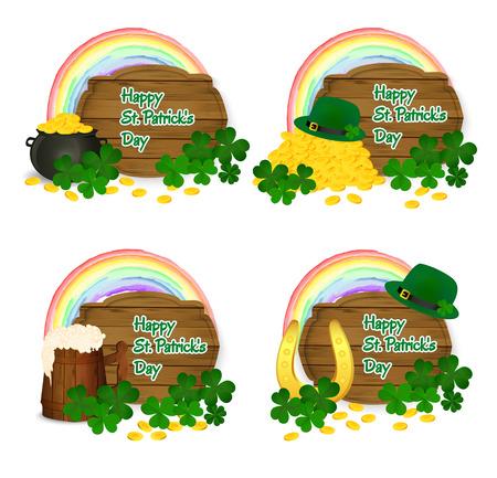 Saint Patricks symbols vector - pot og gold, rainbow, beer mug, horseshoe, green hat and clover.