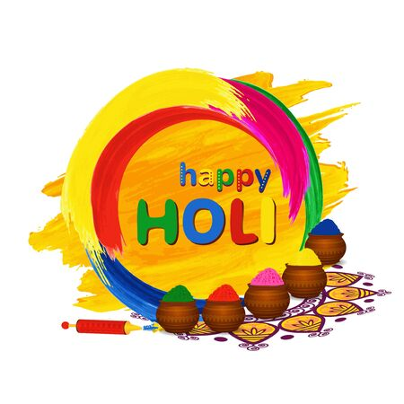 gulal: Happy Holi greeting card with traditional pots, pichkari and color splashes Vector illustration