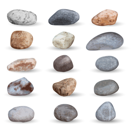 Vector sehen Steine ??und Kiesel Sammlung isoliert auf weiß