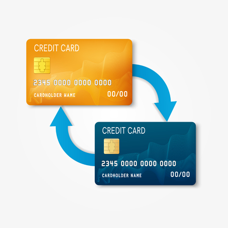 two bank plastic credit card with arrows non cash money transfer and banking transaction - Plastic Credit Card
