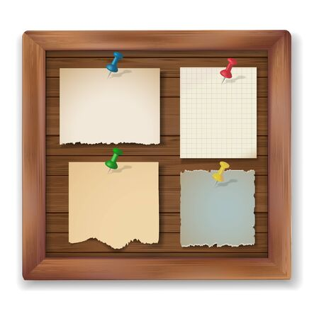 old notebook: Blank vintage note papers pinned pushpins on wooden board. Vector illustration. Illustration