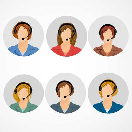 call centre girl: Female call center operator icon set - woman in headphones avatar collection. Customer support, client services, phone assistance.
