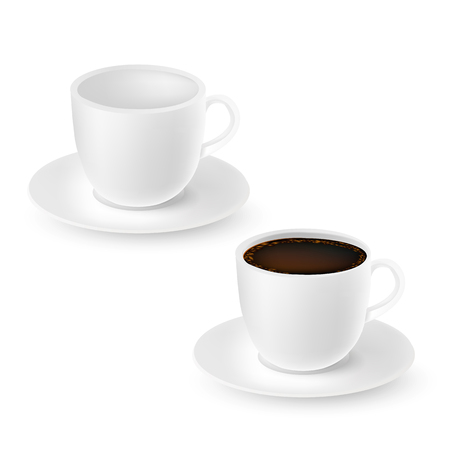 Realistic white emty and full cups of coffee isolated on white. Vector illustration.