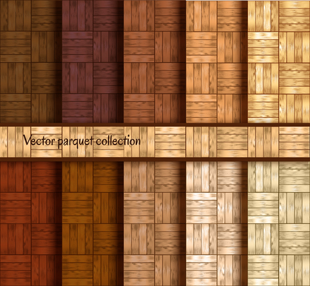 Vector wooden parquet patterns collection