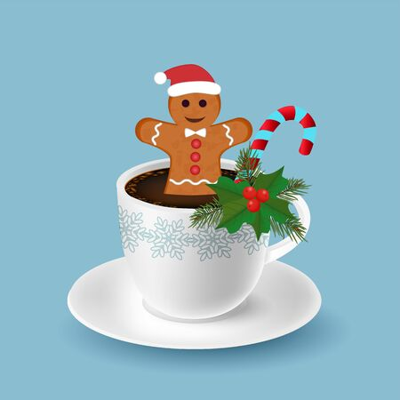 White coffee cup with gingerbread man cookee, candy cane and christmas decoration. Merry Cristmas and New year greetiong card. Illusztráció