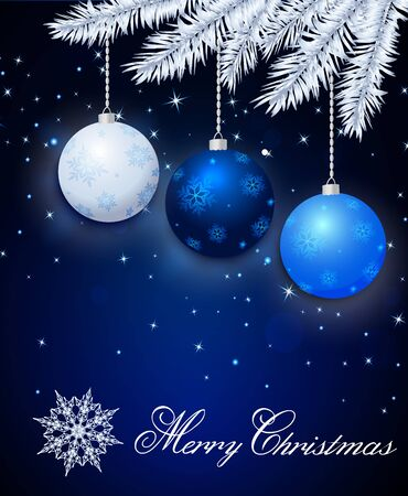 Dark blue Merry Christmas greeting card with balls, snowflake and