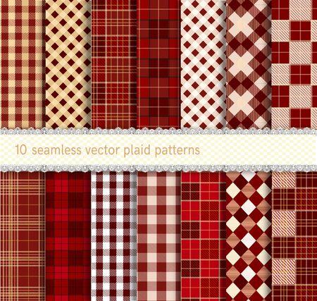 Set tartan seamless plaid patterns