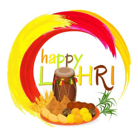 Happy Lohri India festival greeting card witn indian sweets and decorated drum. Vector illustration. Ilustração